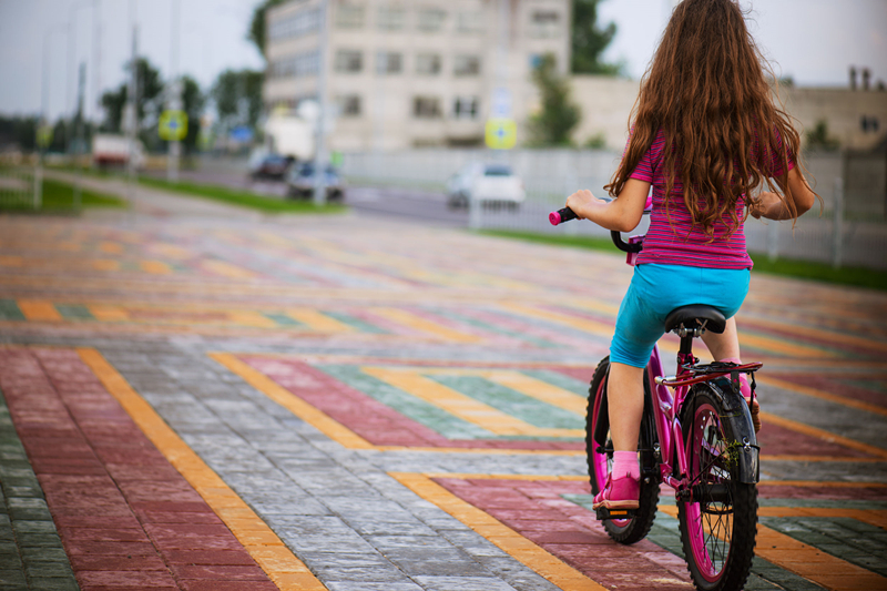 A girl riding bicycle